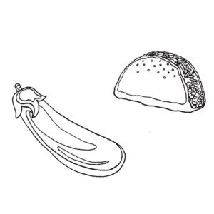 Dubbelzinnige online emoji-taal: taco en aubergine