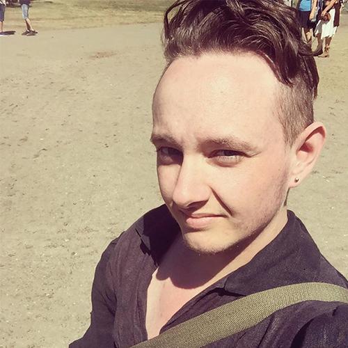 Evan selfie in de zon
